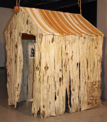 """Barn,"" dyed and stitched silk, wood, twine, 54"" x 48"" x 70"", 2010"